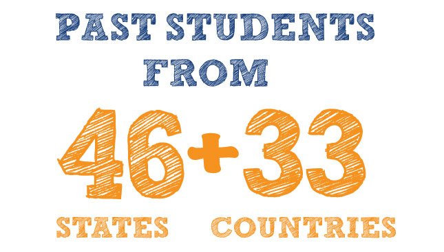 Past Students from 46 States + 33 Countries